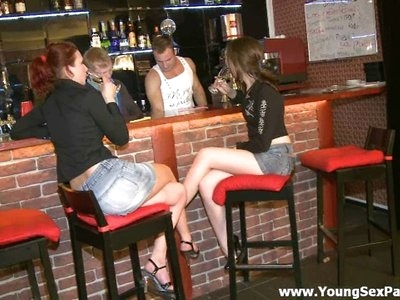 Two seductive brunette babies came to a bar to have a drink. The barman and his friend couldn't miss such opportunity to fuck these bitches.  The girls don't mind sucking their rods deep throat.  Watch this fascinating porn movie and masturbate as long as you want.